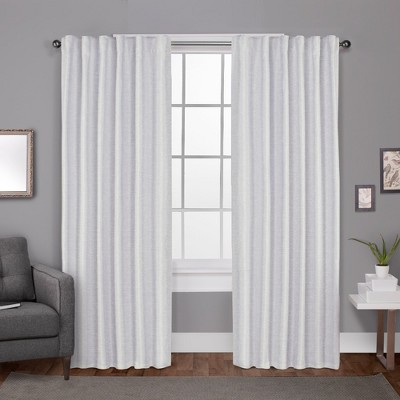 """Set of 2 96""""x52"""" Zeus Solid Textured Jacquard with Blackout Liner Hidden Tab Window Curtain Panel White - Exclusive Home"""