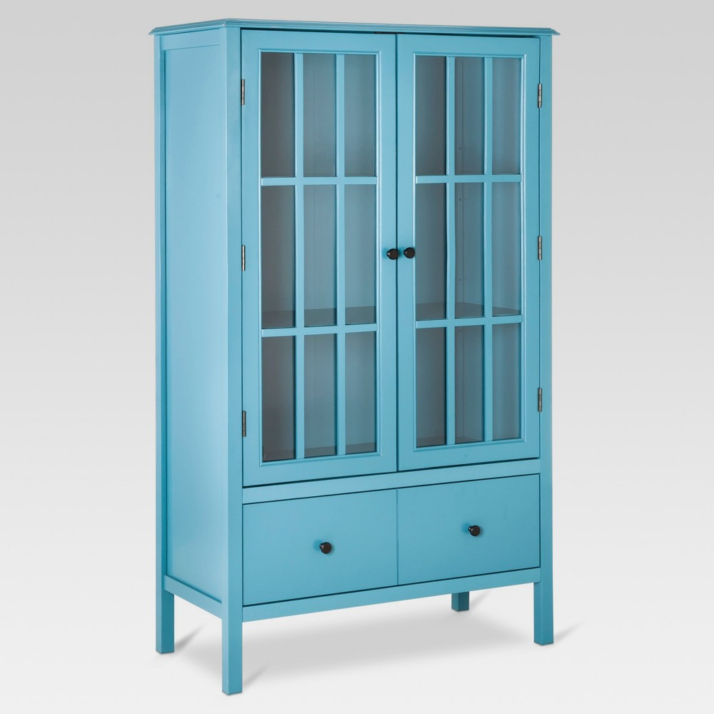 Windham Tall Storage Cabinet with Drawer Teal - Threshold Discounts