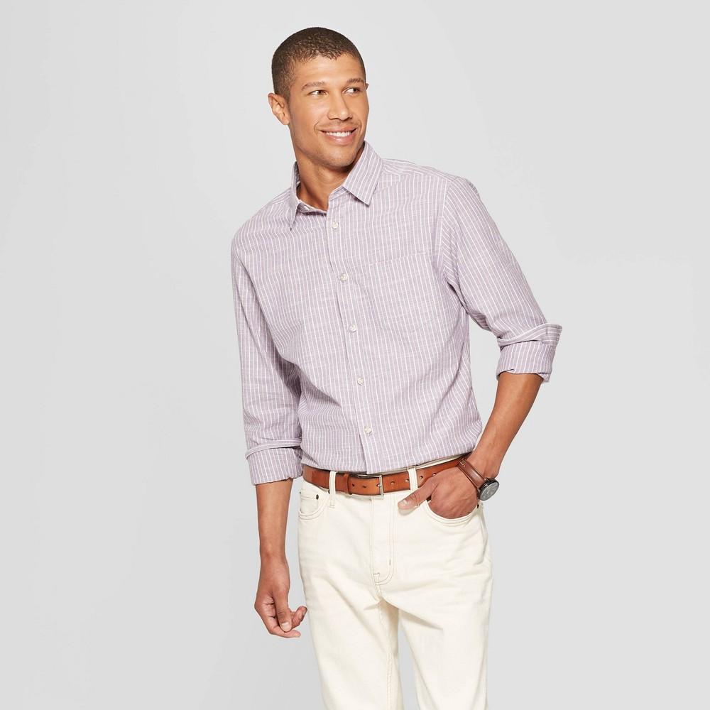 Men's Striped Long Sleeve Cotton Slub Button-Down Shirt - Goodfellow & Co Violet M, Purple