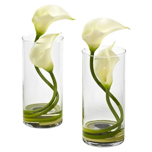 Nearly Natural Double Calla Lily With Cylinder Set Of 2 Target