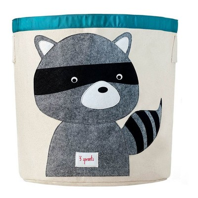 Raccoon Canvas Extra Large Round Kids Storage Bin - 3 Sprouts