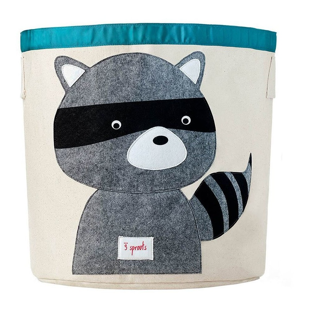Image of Extra Large Round Raccoon Canvas Kids Toy Storage Bin - 3 Sprouts