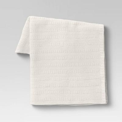 Striped Chenille Knit Throw Blanket Cream - Threshold™