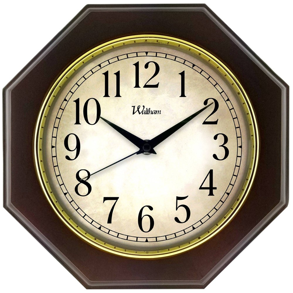 "Image of ""11"""" Solid Wood Case with Gold Bezel Wall Clock Brown - MZB, Beige Brown"""
