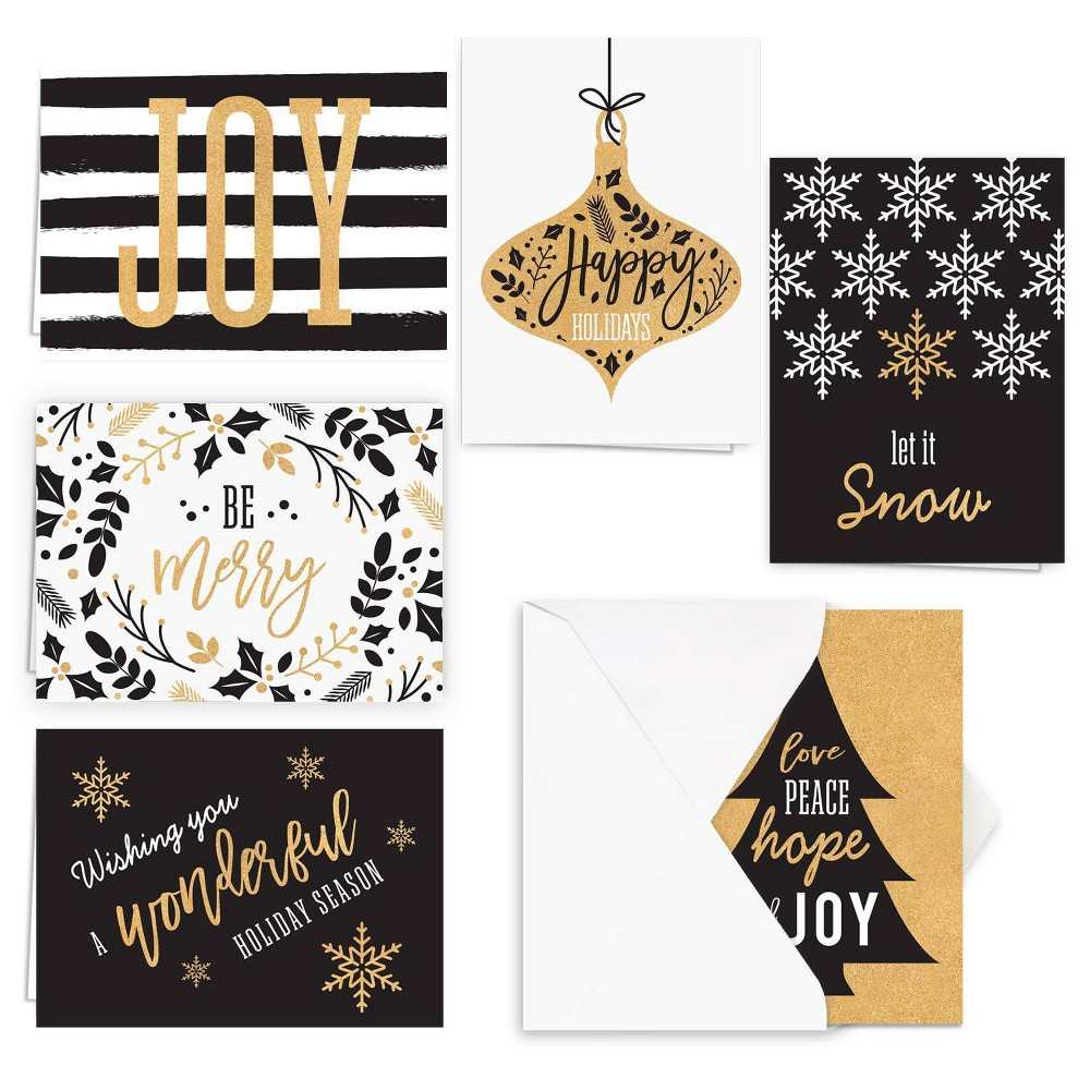 Image of 24ct Black and Faux Gold Greeting Cards - Masterpiece Studio