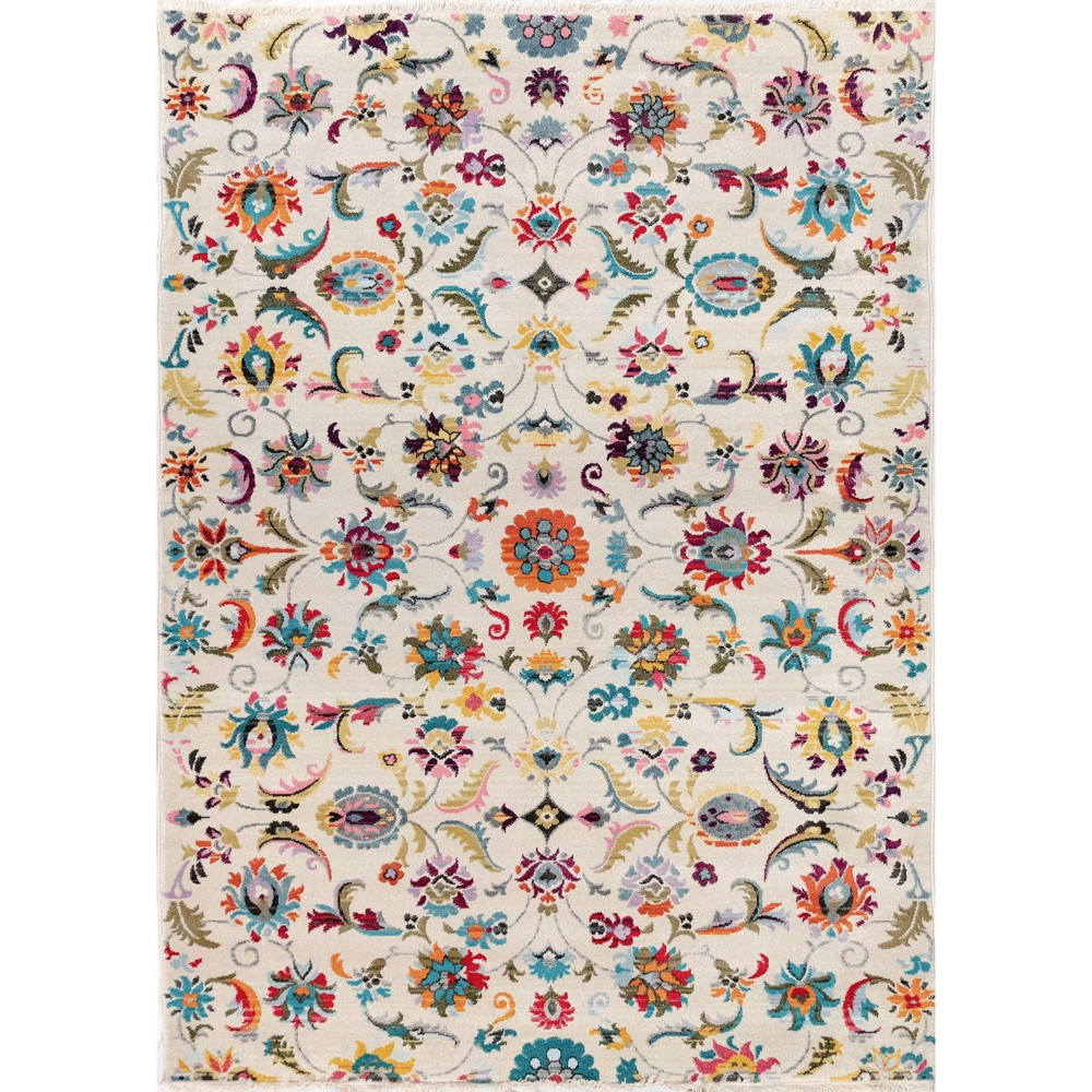 5'X8' Floral Woven Area Rug Ivory - Liora Manne, White