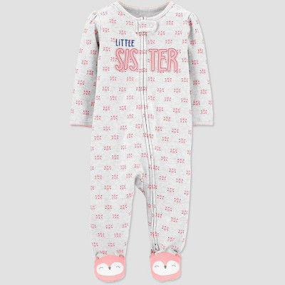 Baby Girls' Lil Sis One Piece Pajama - Just One You® made by carter's Gray Newborn