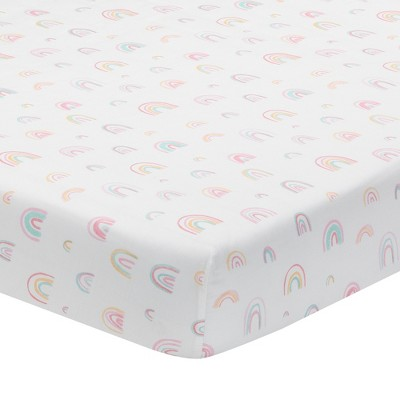Lambs & Ivy Watercolor Pastel Rainbow 100% Cotton Baby Fitted Crib Sheet