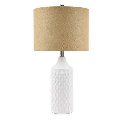 """26.5"""" Geometric Ceramic Table Lamp with Linen Shade White - Cresswell Lighting"""