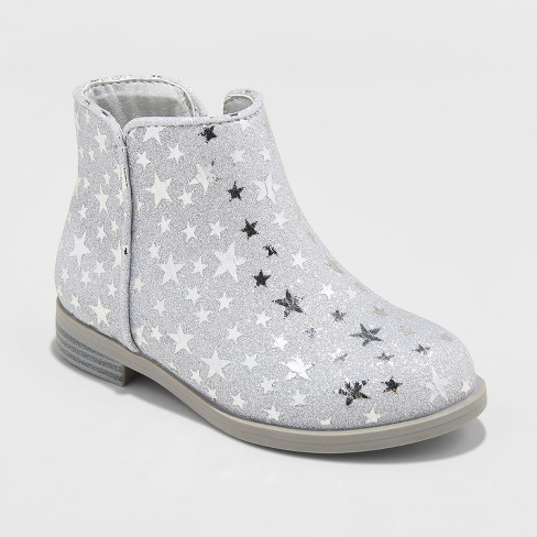 6dc229eb8d Toddler Girls' Etoile Ankle Boots With Glitter - Cat & Jack™ Silver : Target