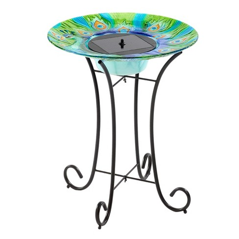 "24"" Argus Peacock Solar Birdbath With Metal Stand - Multi Color - Smart Living - image 1 of 5"