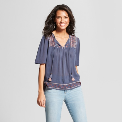 Women s Short Sleeve Embroidered Lace Back Peasant Top - Knox Rose™ Blue 98435b809