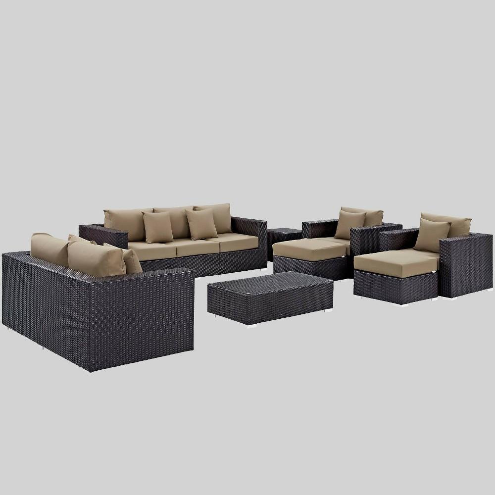 Convene 9pc Outdoor Patio Sofa Set - Mocha (Brown) - Modway