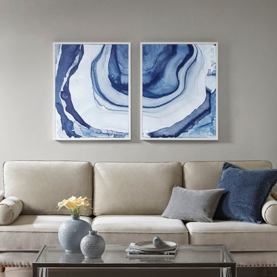 "(Set of 2)23.5"" x 29.5""Ethereal Printed Framed Canvas Decorative Wall Art Set Blue"