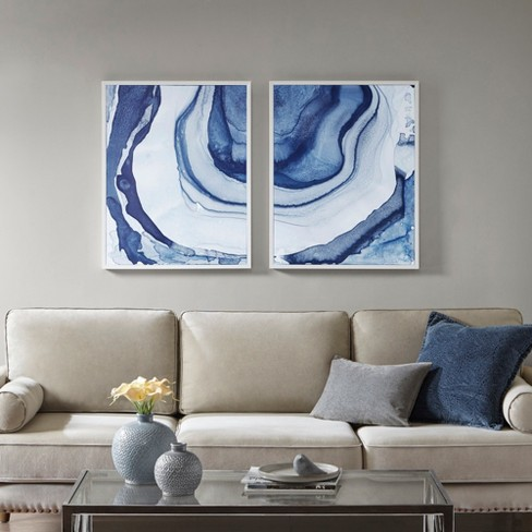 Ethereal Printed Framed Canvas 2pc Decorative Wall Art Set Blue
