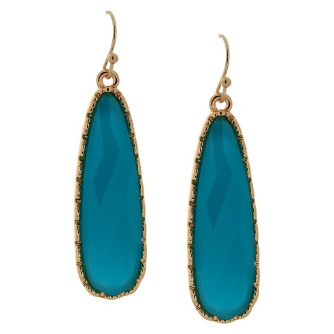 Women's Drop Earring with Stones - Gold and Blue - image 1 of 1