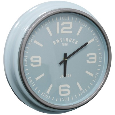 Round Antiques Wall Clock with Glass Front Semi Gloss Blue - StyleCraft
