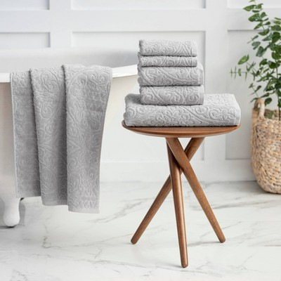 6pc Cameron Sculpted Bath Towel Set Gray - Martha Stewart