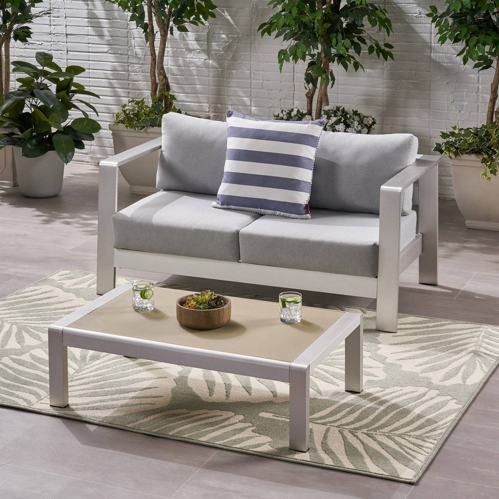 Image of 2pc Bayport Aluminum Patio Loveseat and Coffee Table Set Silver - Christopher Knight Home