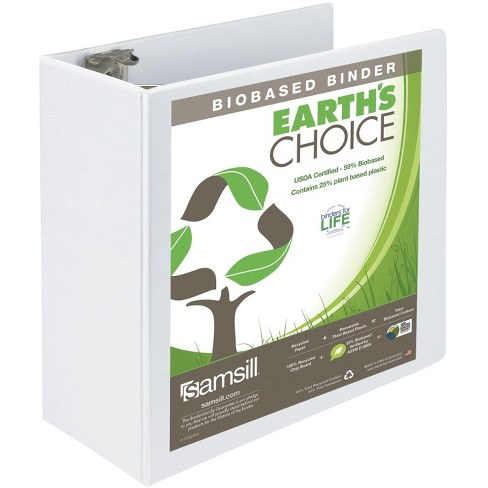 Earth's Choice Eco-Friendly View Binder, 5 Inch D-Ring, White, 8-1/2 x 11 Inches - image 1 of 4