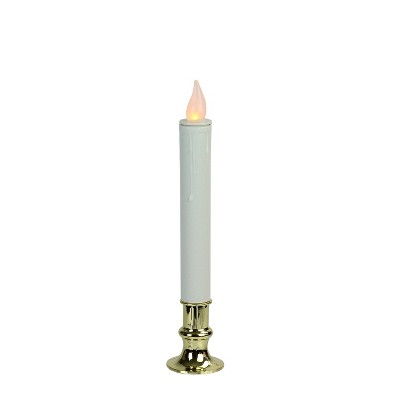 "Brite Star 9.25"" LED Battery Operated Christmas Candle Lamp with Gold Base - White"