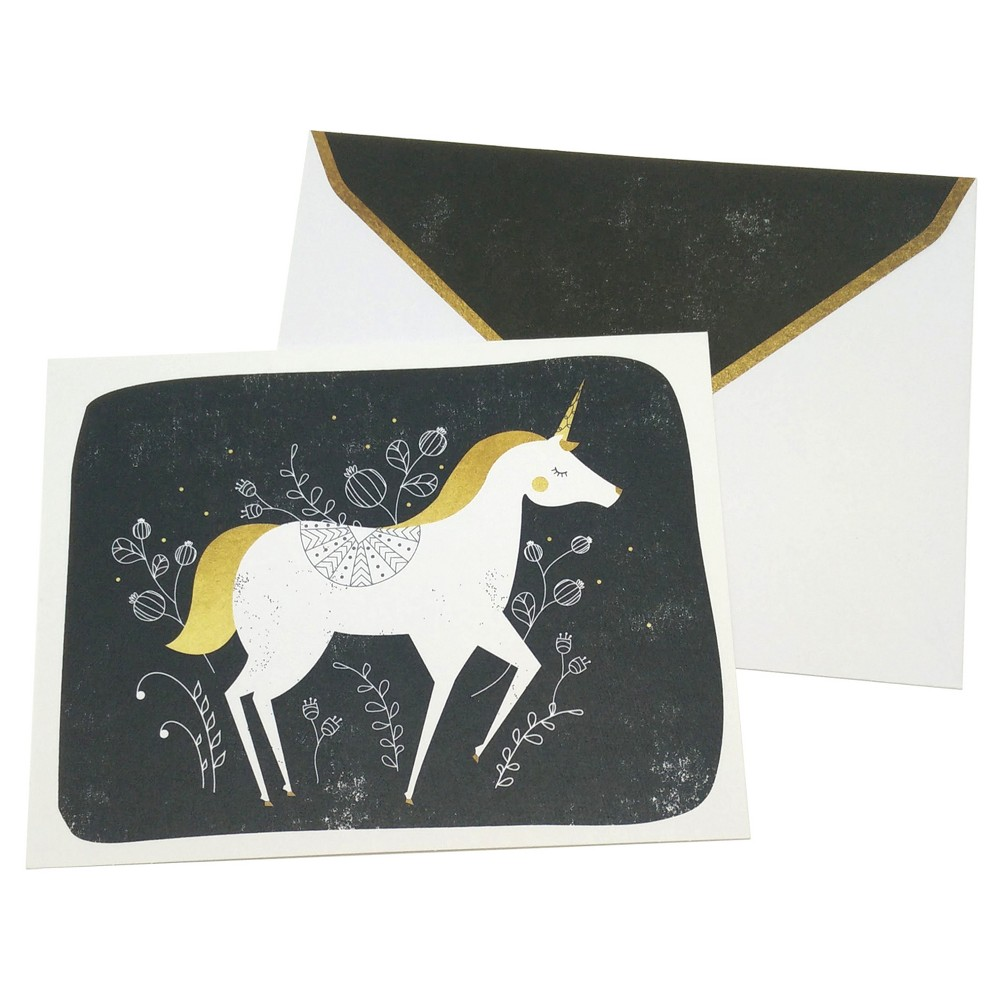10ct Unicorn Dreams Blank Cards - Green Inspired, Multi-Colored These blank cards feature a delicate and whimsical unicorn designed with a hand-painted asthetic. Includes 10 cards with printed envelopes. Color: Multi-Colored. Pattern: Dogs.