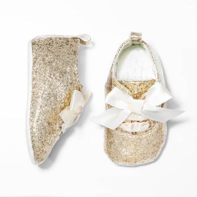 Baby Girls' Glitter Oxford Bootie - Cat & Jack™ Gold 0-3M