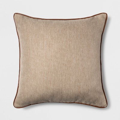 Faux Leather Piping Square Throw Pillow Neutral - Threshold™