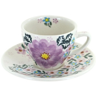 Blue Rose Polish Pottery Lilac Garden Tapered Espresso Cup & Saucer