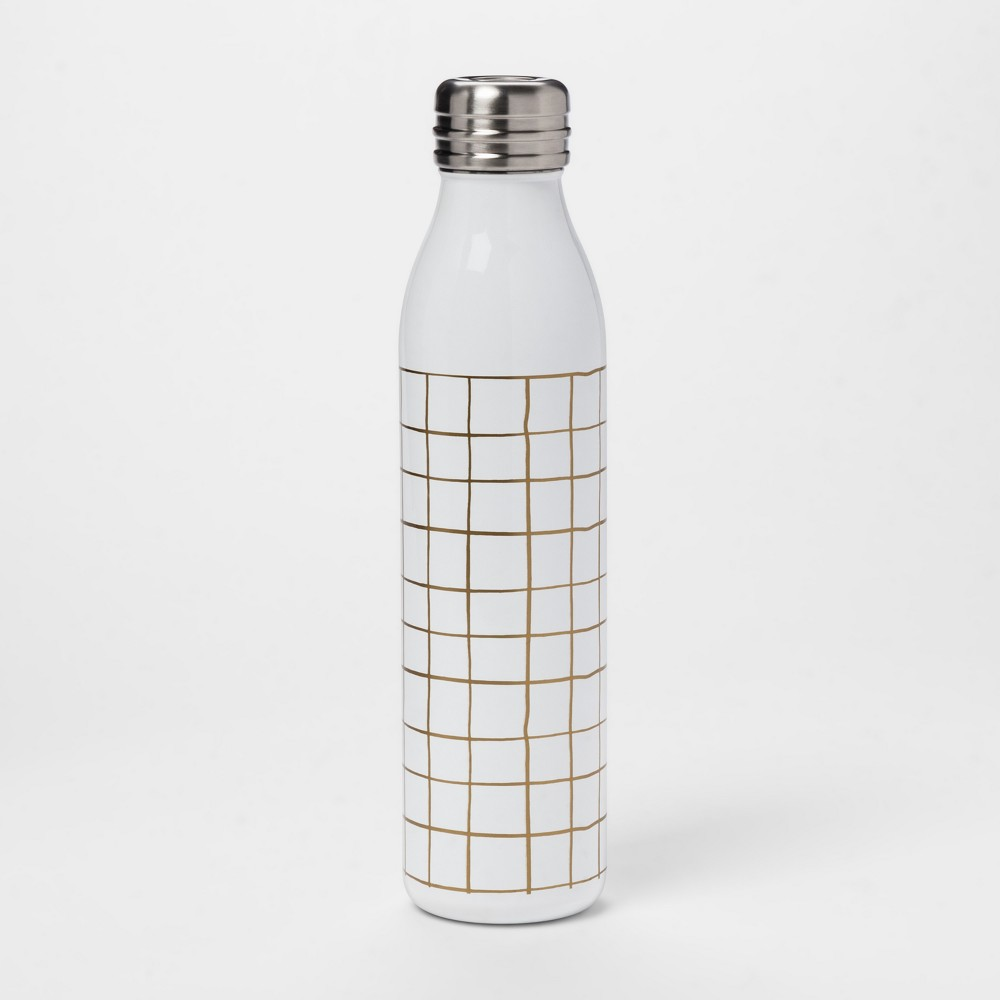 20oz Venti Heat Transfer Stainless Steel Portable Water Bottle Gold/White - Room Essentials