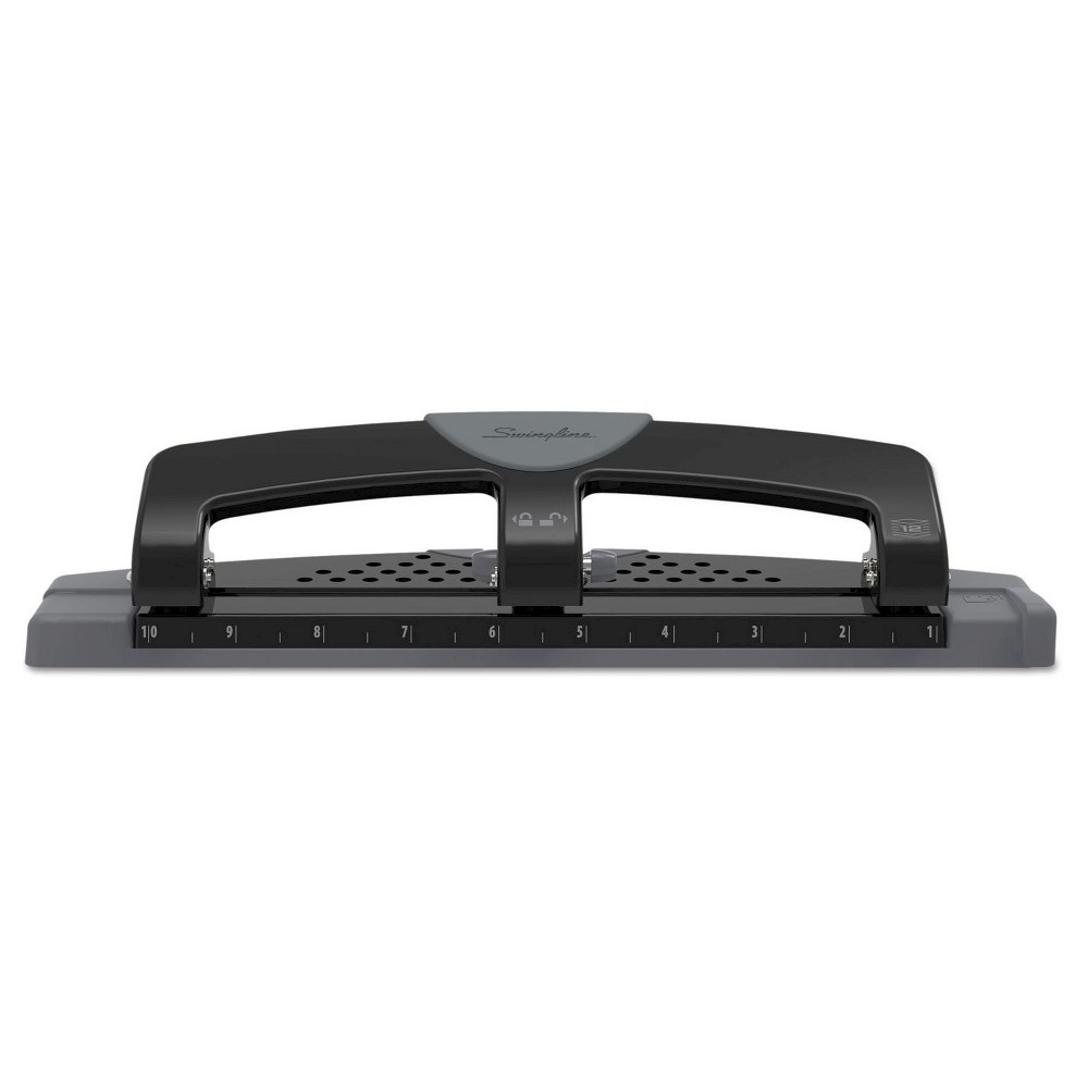 """Image of """"Swingline 9/32"""""""" Holes 12 Sheet SmartTouch Three-Hole Punch - Black/Gray"""""""