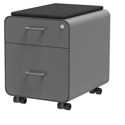 Monoprice Round Corner 2-Drawer File Cabinet - Gray, Lockable With Seat Cushion - Workstream Collection