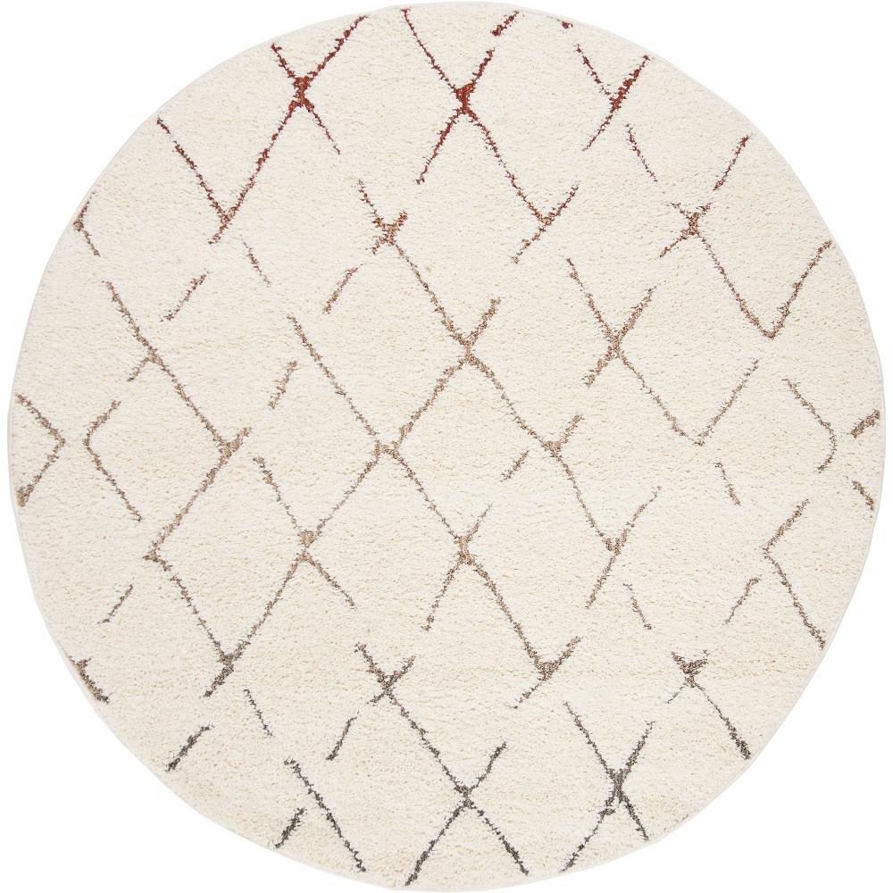 6'7 Geometric Loomed Round Area Rug Cream - Safavieh, Beige