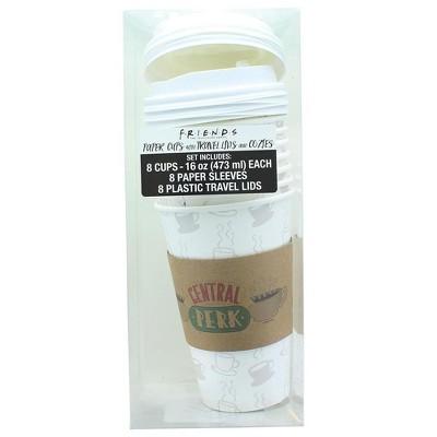 Silver Buffalo Friends Central Perk Logo 16oz Disposable Coffee Cups w/ Lids 8 Count Coffe Mug