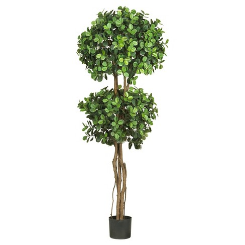 "Nearly Natural Eucalyptus Double Ball Topiary Silk Tree Green (5.5"") - image 1 of 1"