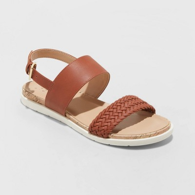 Women's Malia Two Strap Ankle Sandals - A New Day™ Cognac