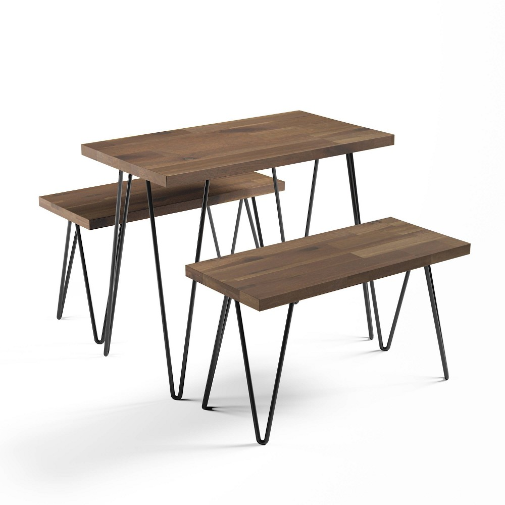 Image of 3pc Torrance Industrial Wood Nesting Table Natural - Abbyson Living