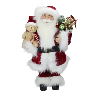 """Northlight 16"""" Red and White Standing Santa Claus Christmas Figure with Present Bag"""