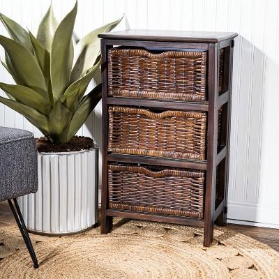 """happimess Rustic 16.75"""" 3-Baskets Storage Chest, Black/Dark Brown"""