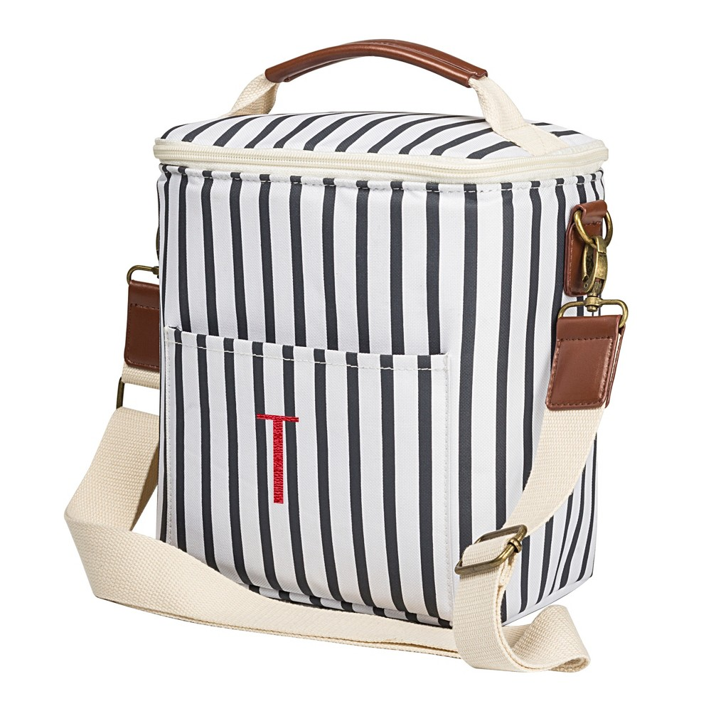 Cathy's Concepts Striped Bottle Cooler - T, Blue White