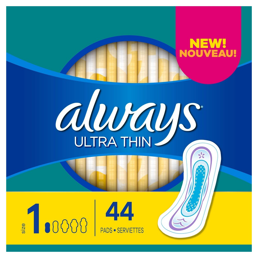 Always Ultra Thin Pads Size 1 Regular Absorbency Unscented 44ct