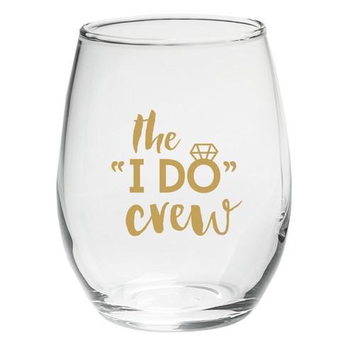 "4ct 15oz ""The I Do Crew"" Stemless Wine Glass - image 1 of 1"