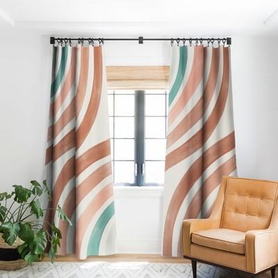 Emanuela Carratoni Double Retro Rainbows Single Panel Blackout Window Curtain - Deny Designs