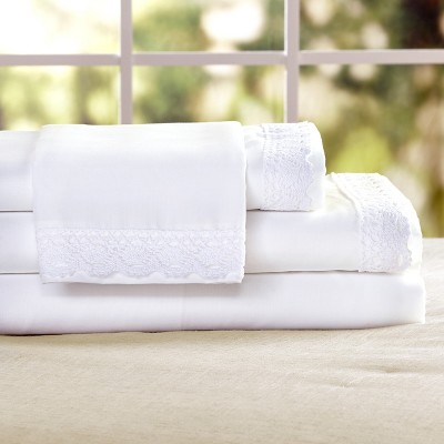 Lakeside Farmhouse Prairie Lace Trim Bed Sheet Set with Pillowcases