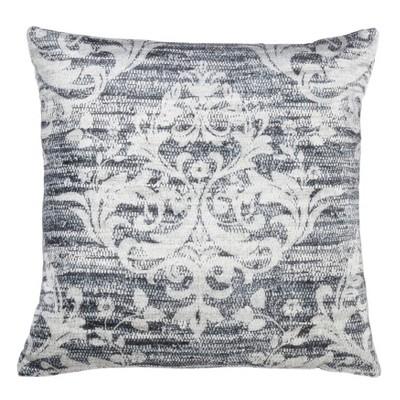 """20"""" Down Filled Distressed Motif Pillow Indigo - Saro Lifestyle"""