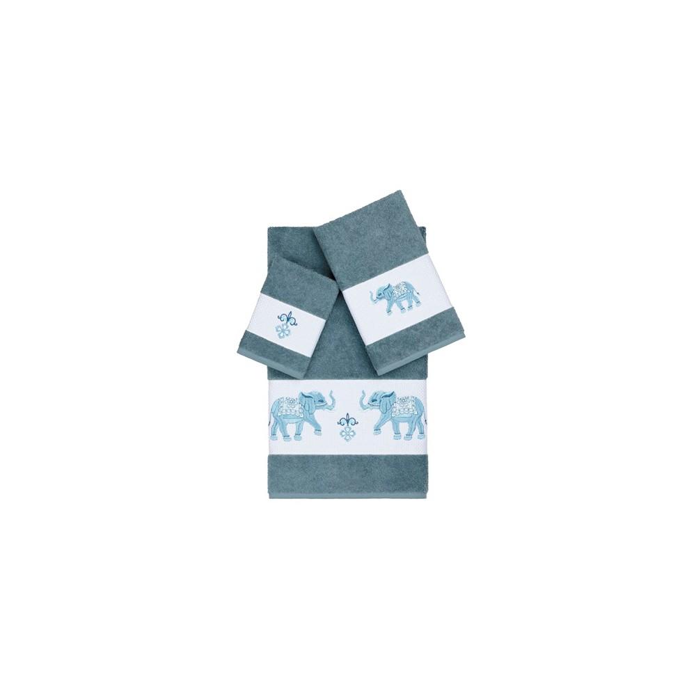 Quinn Embellished Bath Towel Set Teal (Blue) - Linum Home Textiles