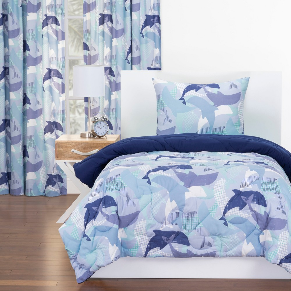 Twin Life's Porpoise Reversible Comforter With Sham Blue - Crayola