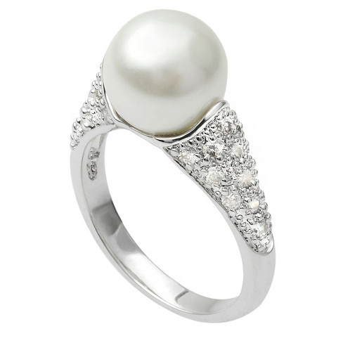 1/4 CT. T.W. Round-cut Cubic Zirconia Simulated Pearl Accent Pave Set Ring in Sterling Silver - Silver - image 1 of 2