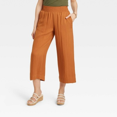 Women's High-Rise Cropped Wide Leg Pull-On Pants - A New Day™