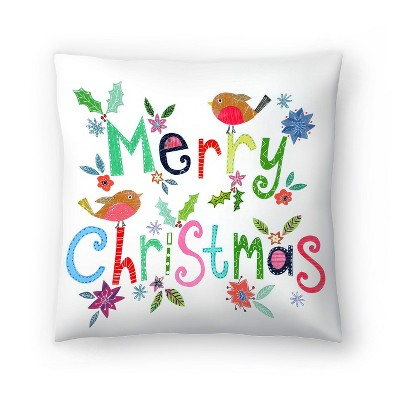 Americanflat Merry Christmas Robins by Liz And Kate Pope Throw Pillow